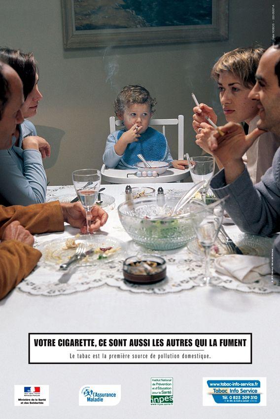 pub pour l'arret du tabac illustrant un enfant fumant une cigarette